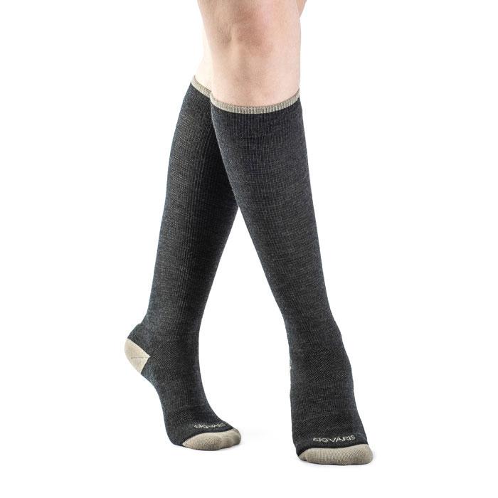 Sigvaris Merino Outdoor Calf High Compression Socks 15-20 mmHg, Medium, Charcoal-Pair