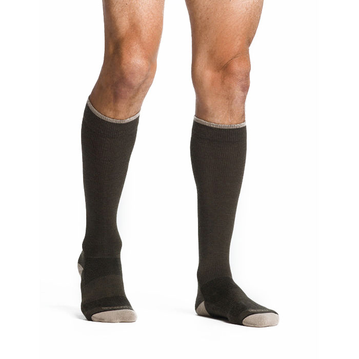 Sigvaris Merino Outdoor Calf High Compression Socks 15-20 mmHg, Medium, Olive-Pair