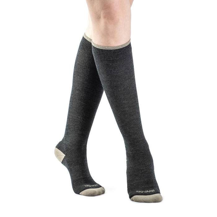 Sigvaris Merino Outdoor Calf High Compression Socks 15-20 mmHg, Small, Charcoal-Pair