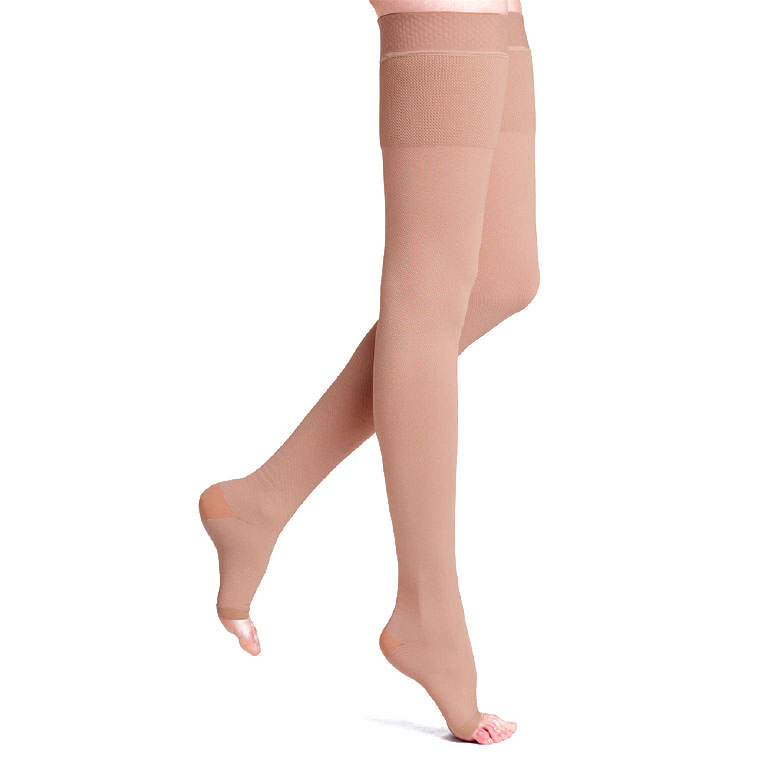 Sigvaris Natural Rubber Thigh High Compression Stockings 30-40mmHg, Open Toe, Small