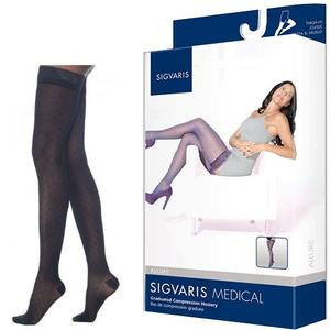 Sigvaris Allure Compression Stocking, Thigh-High with Grip-Top, Medium Short, 20-30 mmHg- Pair