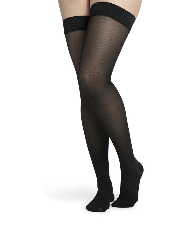 Sigvaris Womens Midsheer Thigh High Compression Stockings, 20-30mmHg, Large Short, Dark Navy