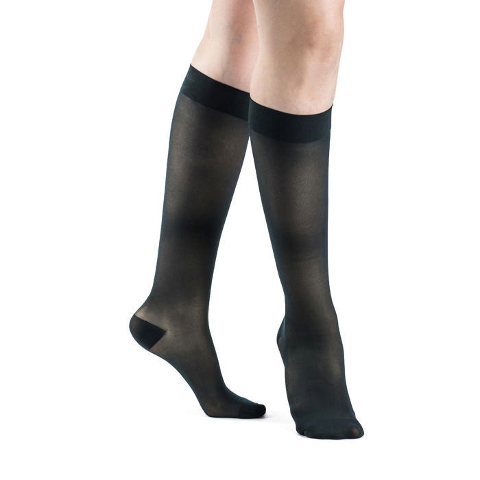 Sigvaris EverSheer Women's Calf-High Compression Socks, Large Long, Dark Navy, 20-30 mmHg- Pair