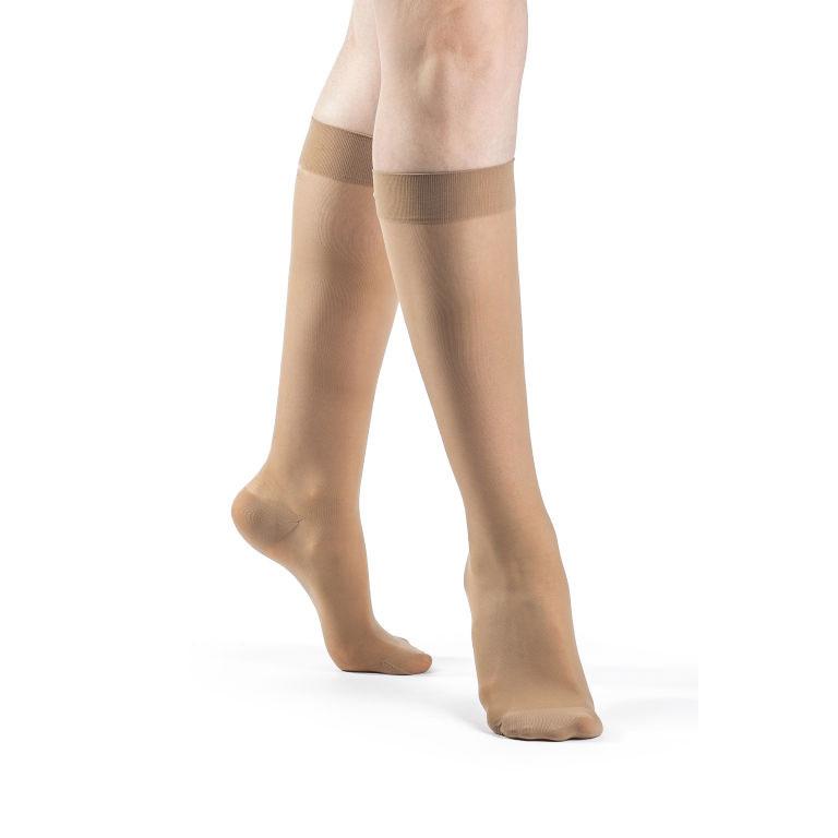 Sigvaris EverSheer Women's Calf-High Compression Socks, Medium Short, 20-30 mmHg
