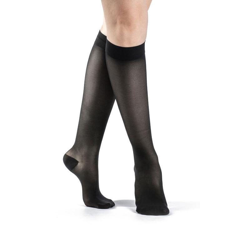 Sigvaris EverSheer Women's Calf-High Compression Socks, Black, Medium Short, 20-30 mmHg