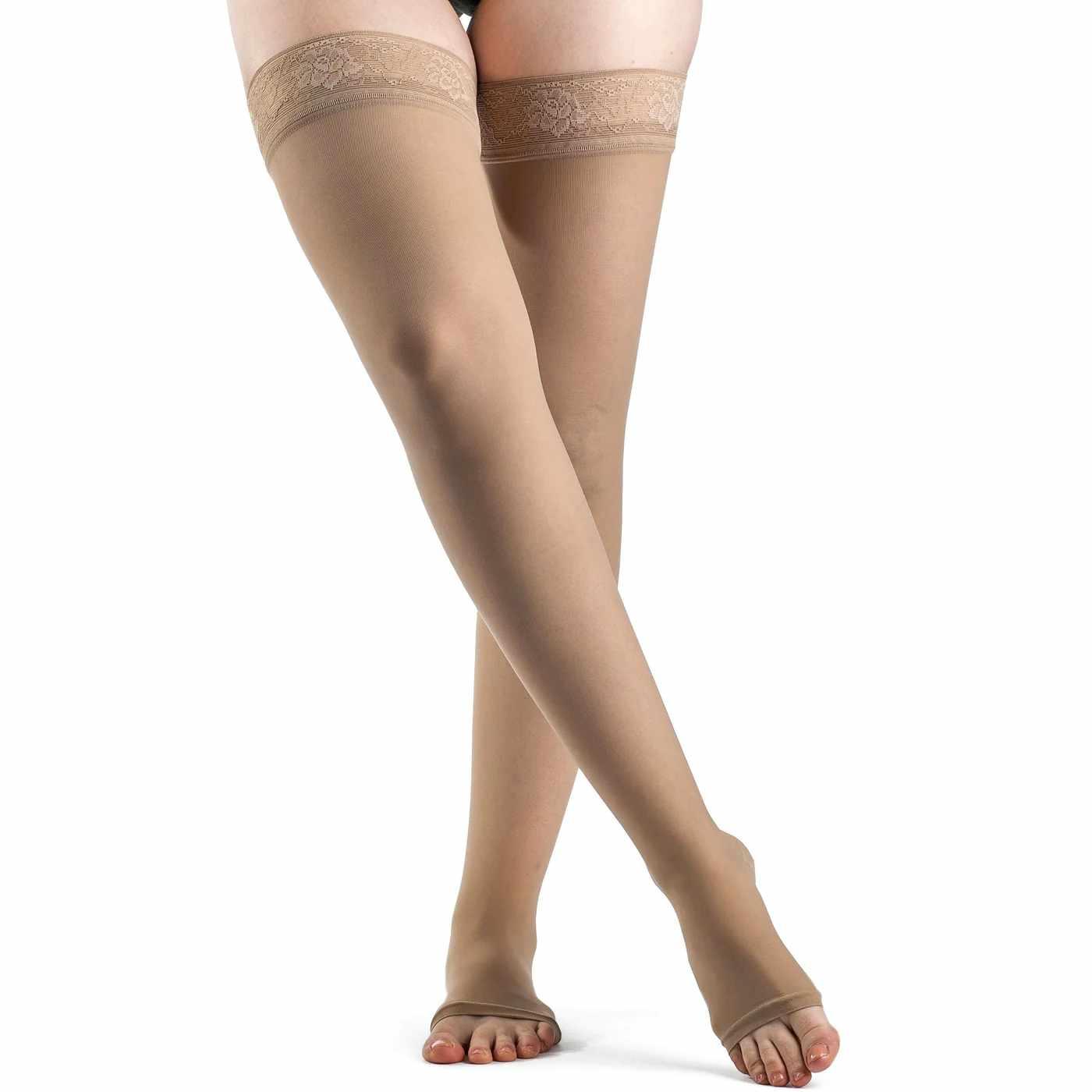 Sigvaris EverSheer Women's Thigh-High Compression Stocking w/Grip-top, Large Long, 20-30 mmHg- Pair