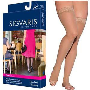 Sigvaris EverSheer Women's Thigh-High Compression Stocking w/Grip-top, Large Long, 20-30 mmHg- Pair