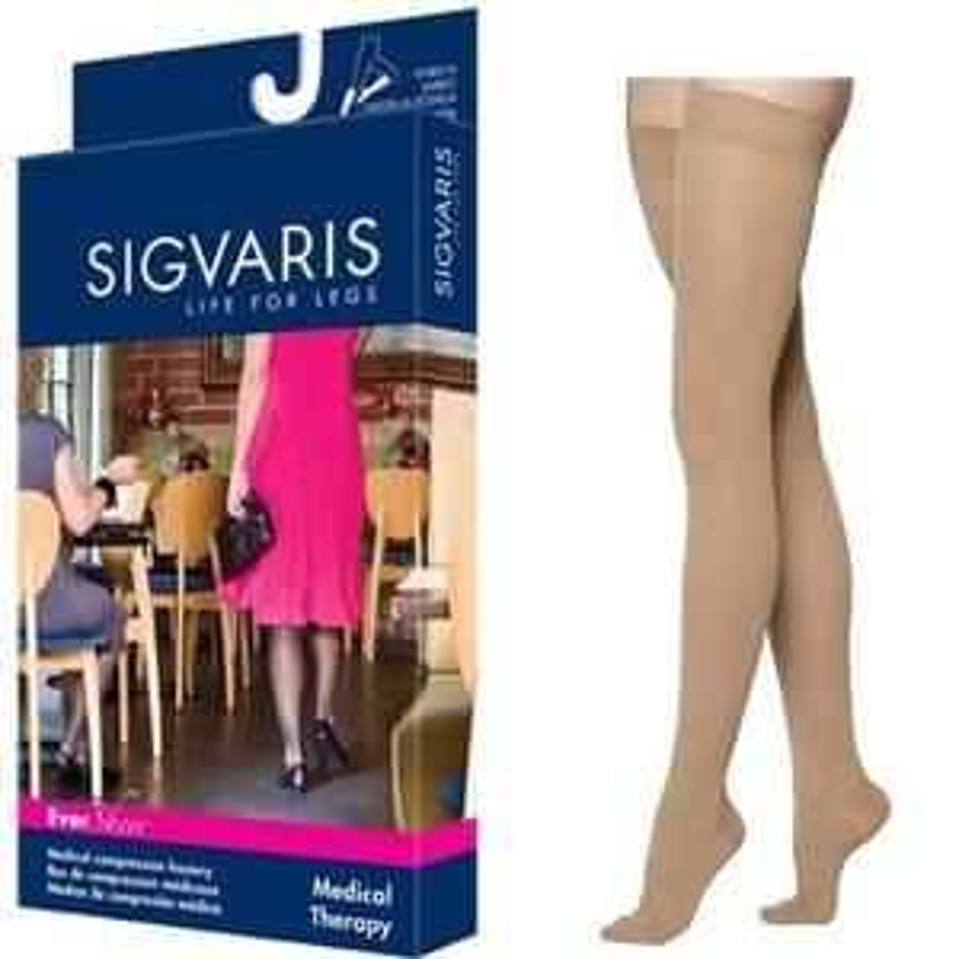 Sigvaris EverSheer Compression Stocking, Thigh-High, Small Short, 30-40 mmHg