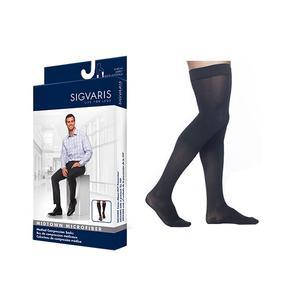 Sigvaris Midtown Microfiber Thigh High Compression Stockings, 15-20mmHg, Medium-Short, Black