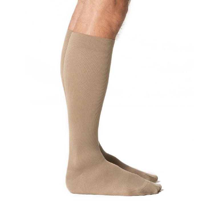 Sigvaris Midtown Microfiber Men's Calf High Compression Socks, Large Long, Khaki