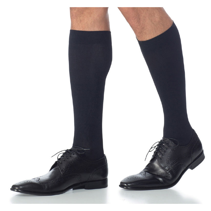 Sigvaris Midtown Microfiber Men's CalfHigh Compression Socks, Large Short Black 20-30 mmHg- Pair