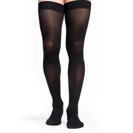 Sigvaris Midtown Microfiber Thigh-High Compression Stockings 20-30 mmHg, Large-Short, Black