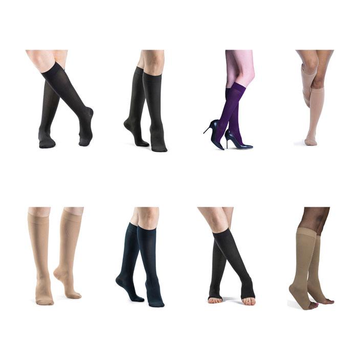 Sigvaris Soft Opaque Calf-High Compression Socks 15-20 mmHg, Large Long
