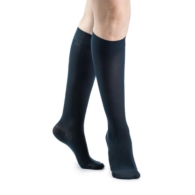 Sigvaris Soft Opaque Women's Calf-High Compression Socks, Large Long, Blue, 15-20 MmHg