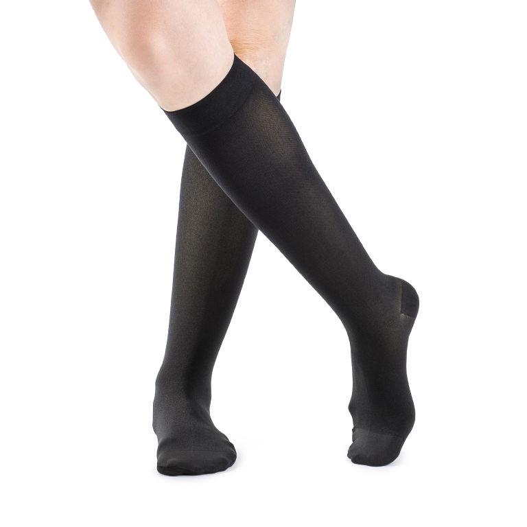 Sigvaris Soft Opaque Women's Calf-High Compression Socks, Large Long, Black, 15-20 mmHg