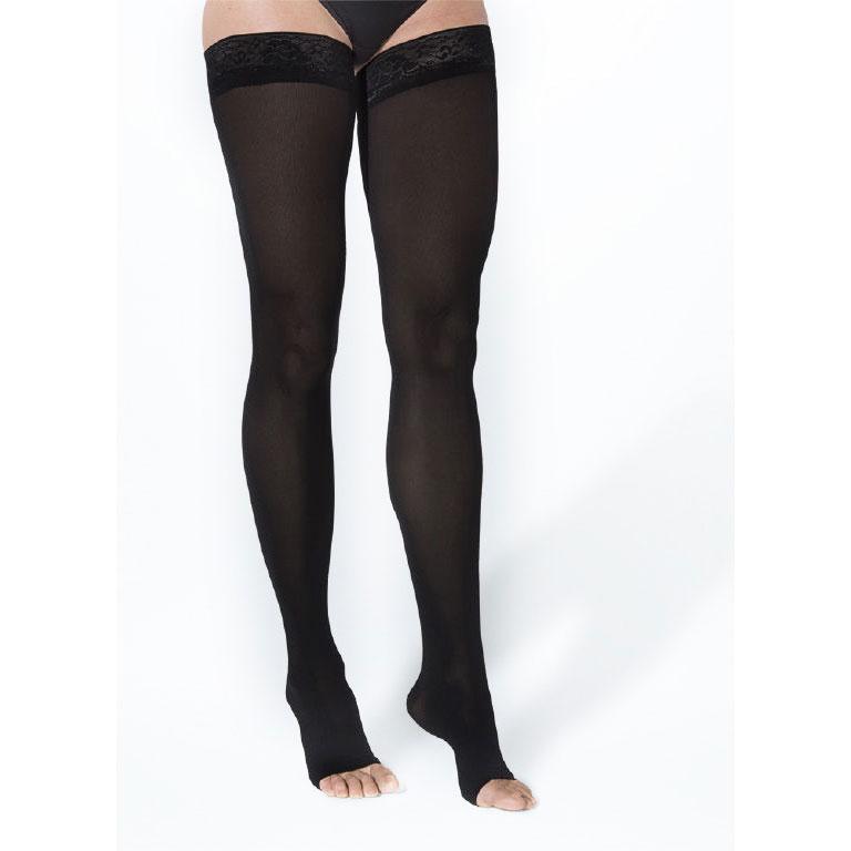 Sigvaris Soft Opaque Thigh High Compression Stockings 15-20 mmHg, Open Toe, Medium
