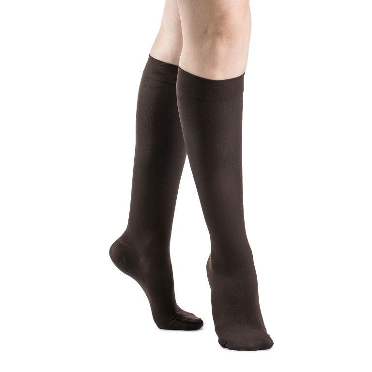 Sigvaris Soft Opaque Women's CalfHigh Compression Socks, Small Short, 20-30 mmHg, Espresso- Pair