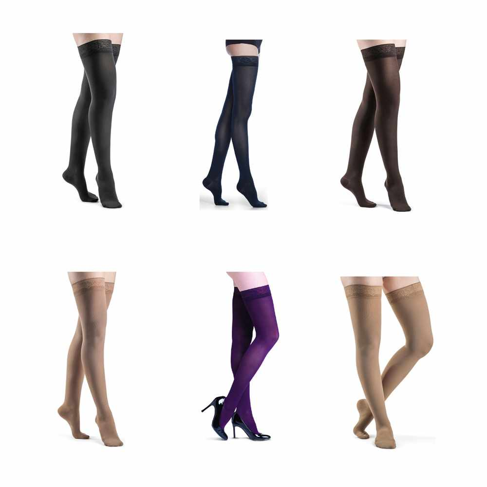 Sigvaris Soft Opaque Thigh High Compression Stockings 20-30 mmHg, Large-Long