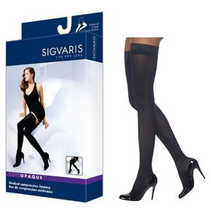 Sigvaris Soft Opaque Compression Stocking, Thigh-High w/Grip-Top, Large Long, 20-30 mmHg- Pair