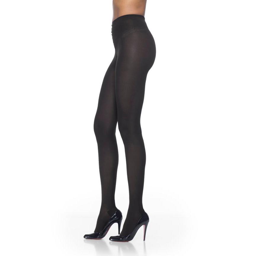 Sigvaris Soft Opaque Compression Pantyhose, 30 to 40 mmHg, Closed Toe, Medium Long, Black