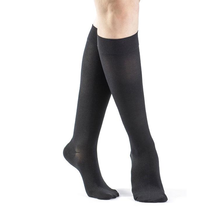 Sigvaris Select Comfort Women's Calf-High Compression Socks, Black, Medium Long 20-30 mmHg- Pair