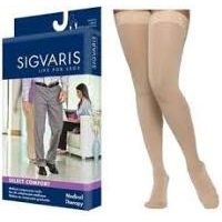 Sigvaris Select Comfort Thigh High Compression Stockings, 20-30 mmHg Small-Long, Natural