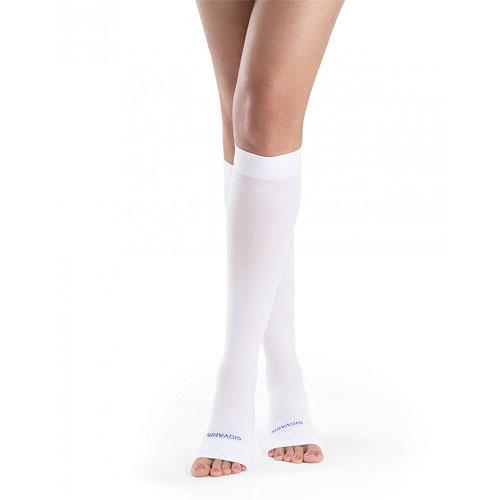 Sigvaris Anti-Embolism Calf High Socks 18-23 mmHg Open Toe White