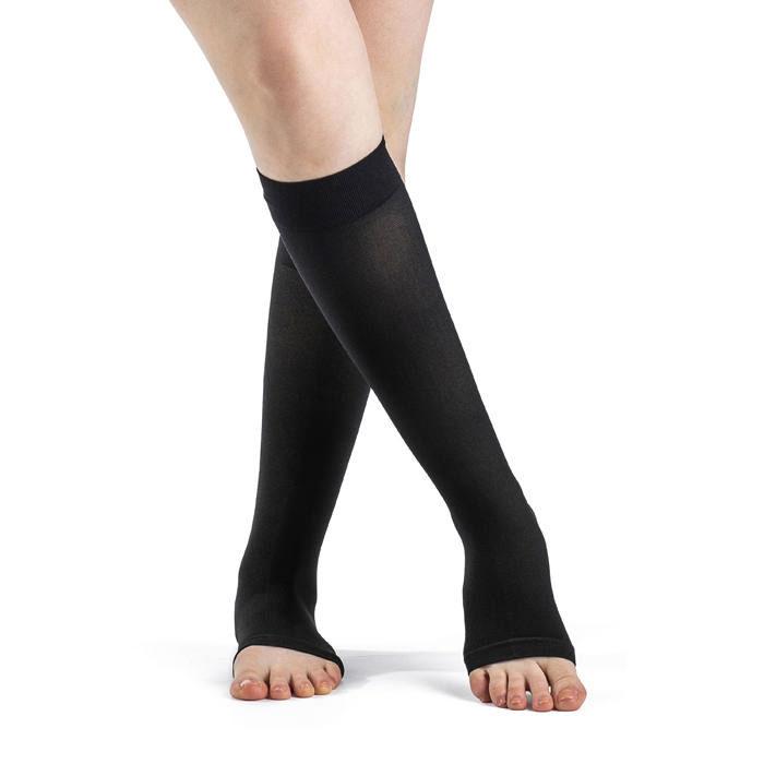 Sigvaris Access Calf Sock, Open Toe, 20-30 mmHg, Medium, Long, Black