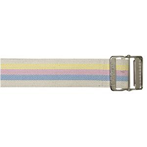 "Skil-care 72"" heavy-duty cotton webbing, pastel stripes metal buckle gait belt"