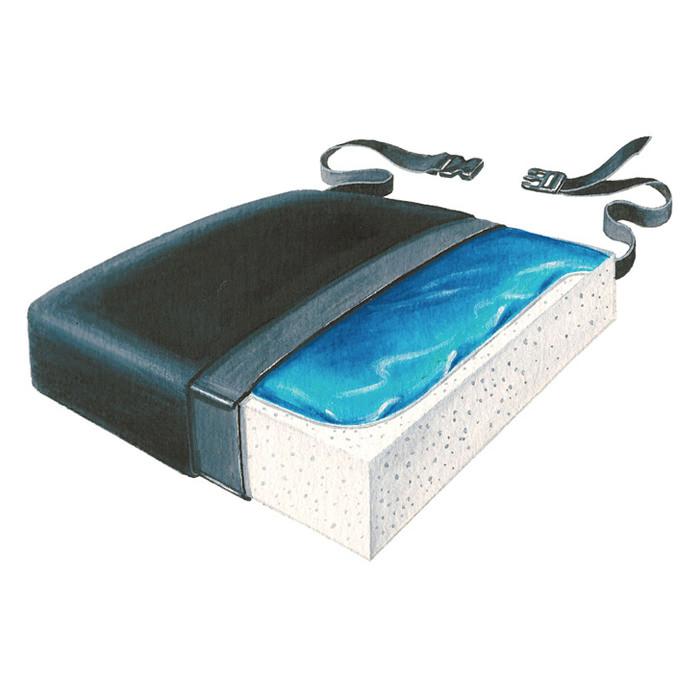 """Skil-care classic gel-foam 16"""" D x 16"""" W x 2-1/2"""" H Seat cushion"""