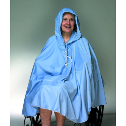 Skil-Care Front Opening Shower Poncho Blue One Size Fits Most 23-1/2 Inch Back