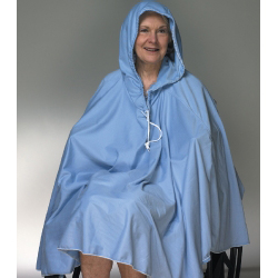 Skil-Care Front Opening Shower Poncho with Hood Blue One Size Fits Most 23-1/2 Inch Back
