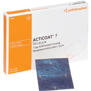 """Acticoat Seven Day Antimicrobial Barrier Wound Dressing, Low Adherent 6"""" x 6"""""""