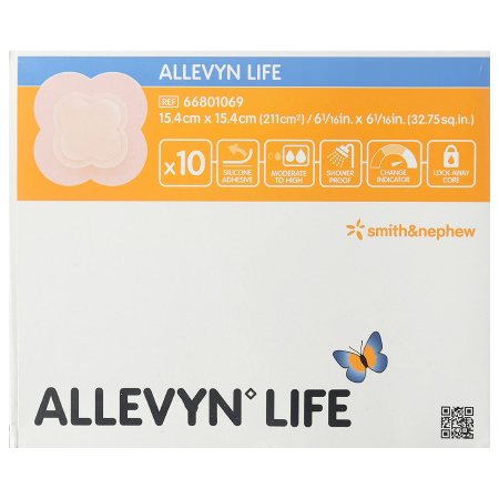 """Allevyn Life Foam Dressing, Sterile, Large 6-1/6"""" x 6-1/6"""" with 4"""" x 4"""" Pad"""