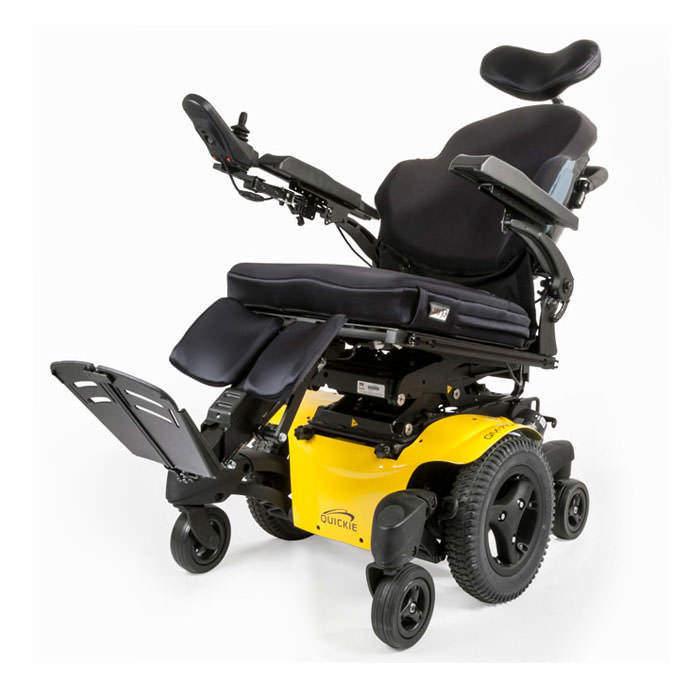 Quickie QM-720 power wheelchair tilted
