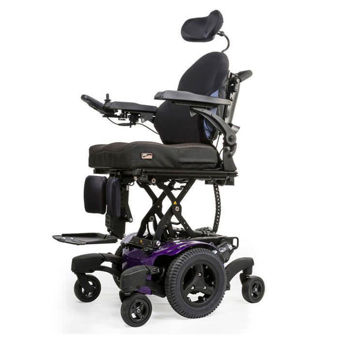 Quickie QM-720 power wheelchair elevated