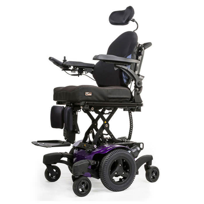 Quickie QM-720 power wheelchair elevated