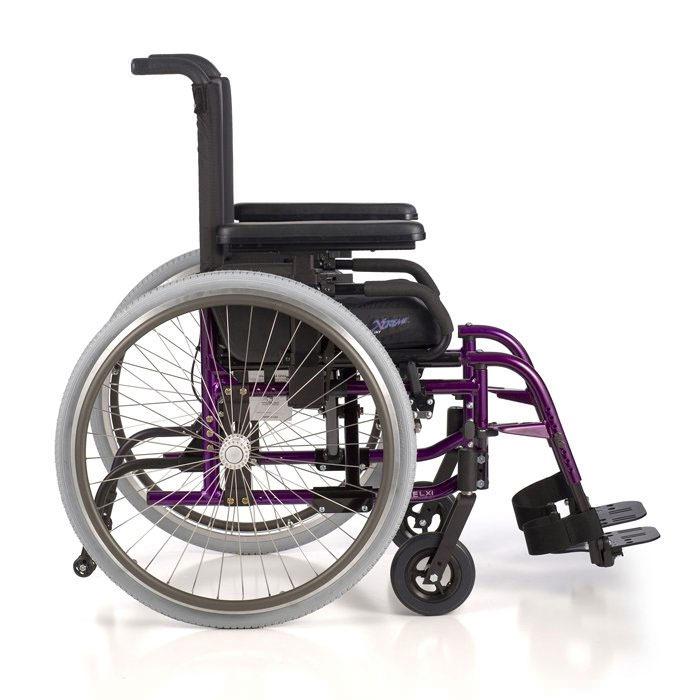 LX folding wheelchair side view