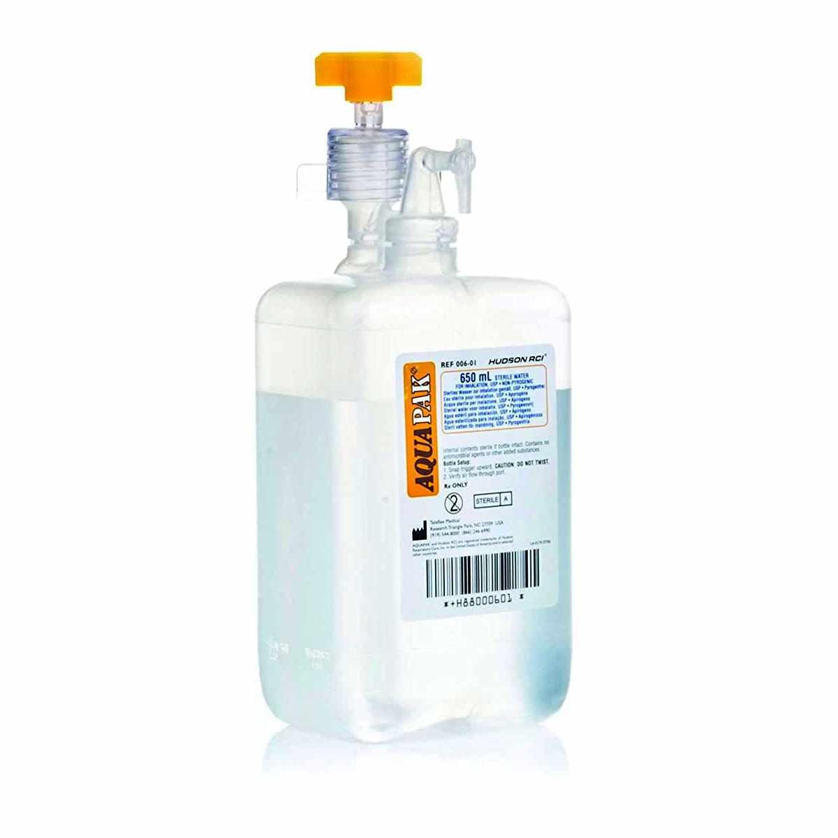 Teleflex Aquapak Prefilled Humidifier, 650ml Sterile Water, built-in oxygen tubing connectors