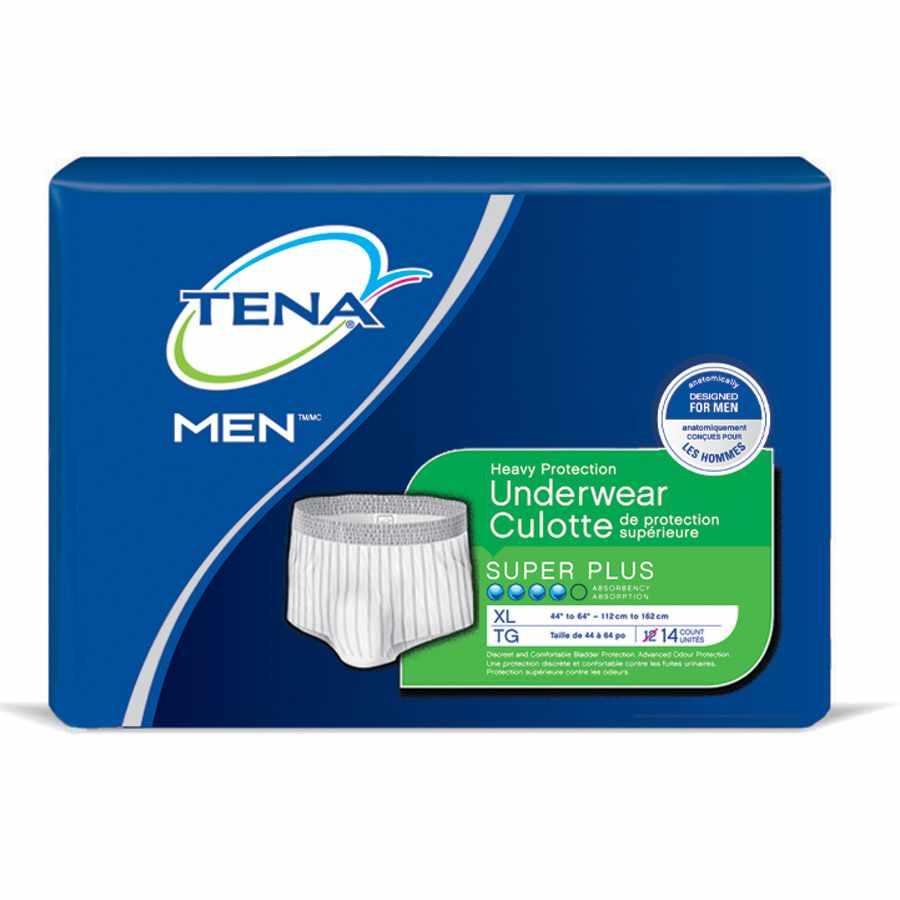 "Tena Men Super Plus Absorbency Protective Underwear, X-Large 44"" to 64"""