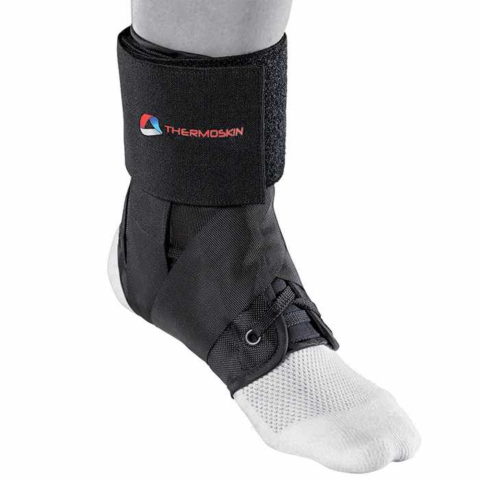 Thermoskin Sport Ankle Brace, Black, Large, Lightweight, Durable