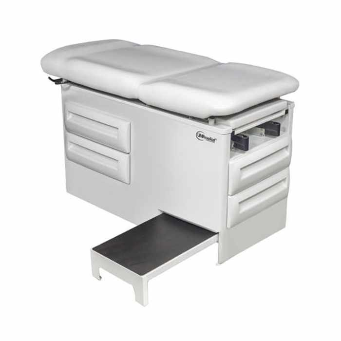 UMF 5240-145 manual exam table with four storage drawers and side step